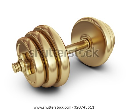 Golden dumbbell. 3D Icon isolated on white background - stock photo