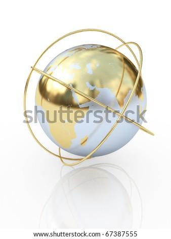 Golden earth  the communication symbol. Europe. - stock photo