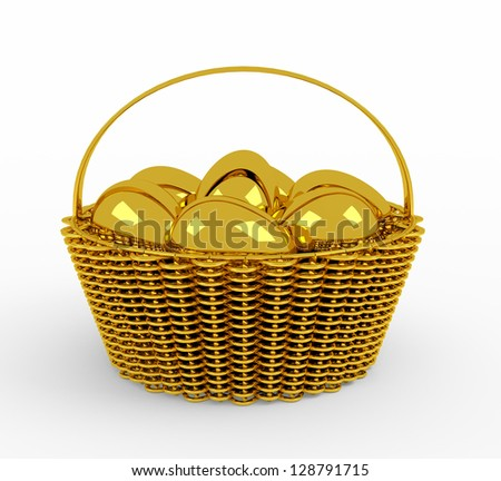 golden easter eggs in  basket isolated - stock photo