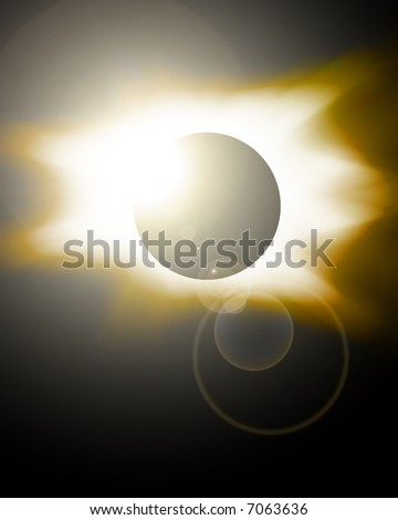 Golden eclipse - stock photo