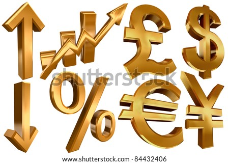 golden economy symbols euro dollar pound yen arrows per cent and statistic bars - stock photo