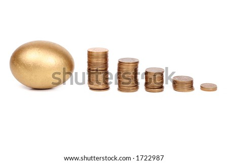 golden egg and coins