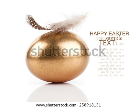 golden egg and feather isolated on white background - stock photo