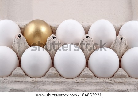 Golden egg and jast eggs in a cardboard box - stock photo