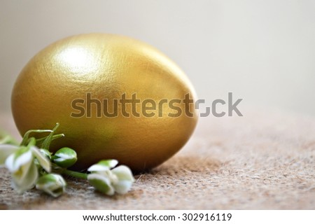 Golden egg and white spring flowers on canvas background - stock photo
