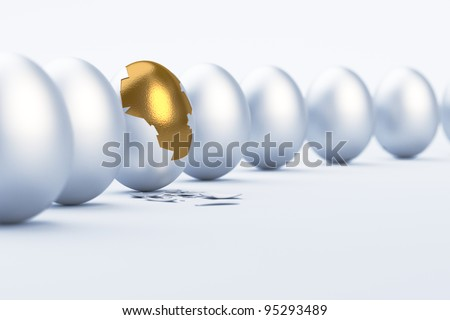 Golden Egg. Difference / uniqueness concept image - stock photo