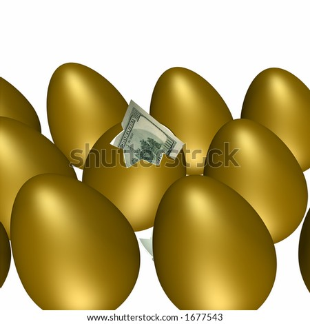 Golden egg hatching with a hundred dollar bill poking out.