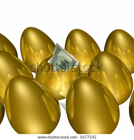 Golden egg hatching with a hundred dollar bill poking out. Gold eggs with reflections.