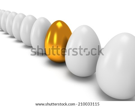 Golden egg in a row of the white eggs. 3D render. Easter, out of crowd, business concept