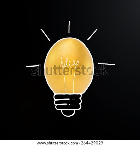 Golden egg in light bulb hand drawing line with the word idea inside: Creative idea concept of light bulb with a golden egg inside: A golden egg opportunity concept of fortune a chance to be rich   - stock photo