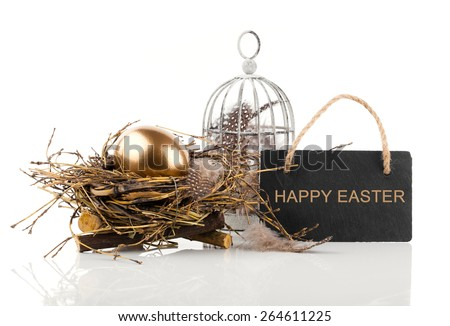 golden egg in nest with blackboard with space for text, on white background - stock photo