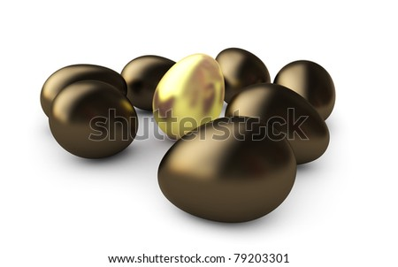 Golden egg, isolated on white background. - stock photo