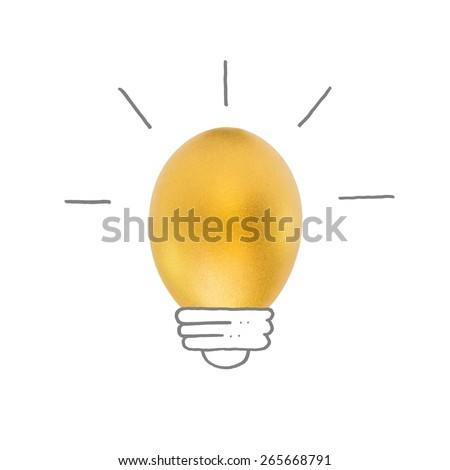 Golden egg light bulb hand drawing line with the word idea inside: Creative idea concept of lightbulb golden egg inside: A golden egg opportunity concept of fortune chance to be rich: Earth hour    - stock photo