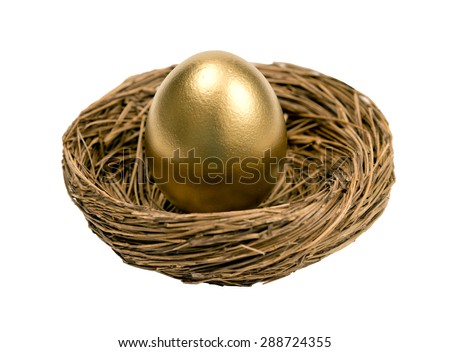 Golden egg standing upright in nest/ Golden Nest Egg Retirement Savings - stock photo