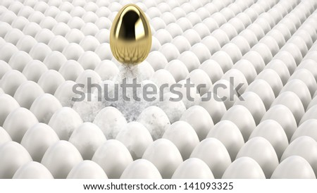 golden egg taking off getting ahead of all the others - stock photo