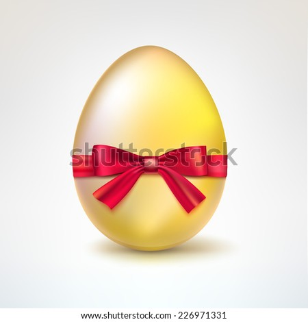 Golden egg with red bow.  illustration - stock photo