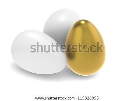 Golden egg with two white eggs - stock photo