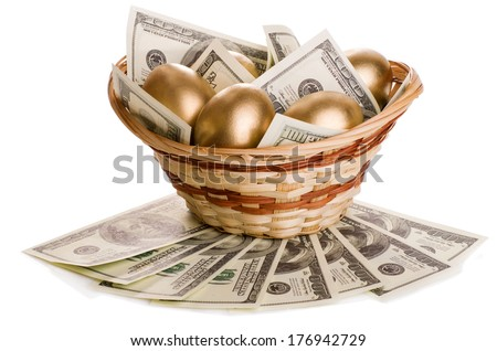 golden eggs and dollars in a basket isolated on white background - stock photo