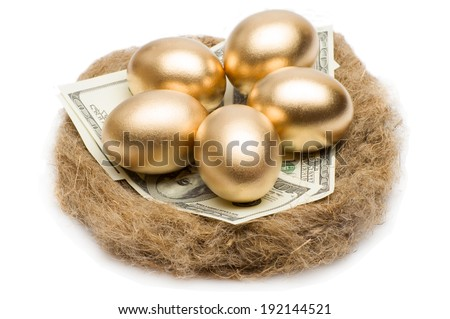Golden eggs and dollars on a nest isolated on white background - stock photo