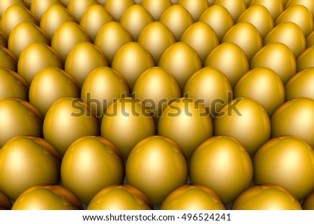Golden eggs. Conceptual illustration. Available in high-resolution and several sizes to fit the needs of your project. Background layout with free text space. 3D illustration render