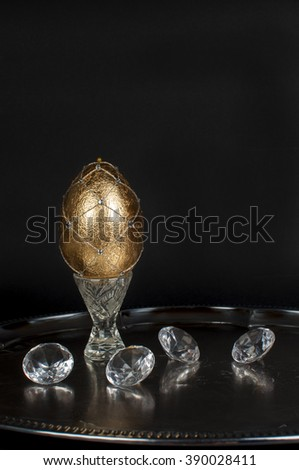 golden eggs for easter - stock photo