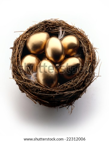 Golden eggs in a nest on white background - stock photo