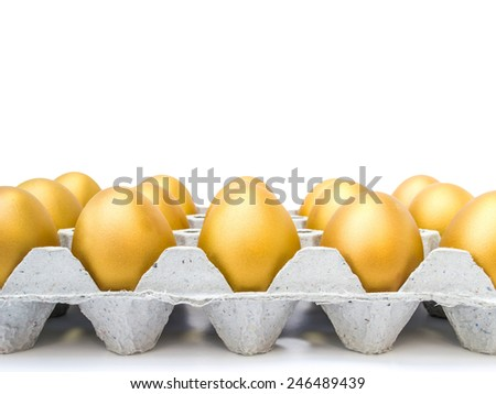 Golden eggs in a tray  - stock photo
