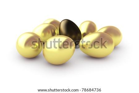 Golden eggs, isolated on white background. - stock photo