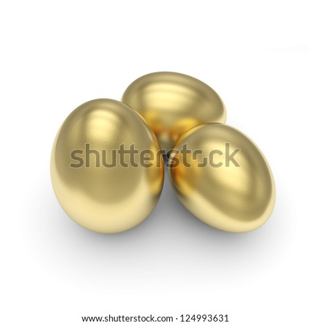 Golden Eggs isolated with clipping path - stock photo