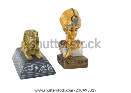 golden egypt pharaoh and golden sphinx isolated on white background. This item is my collection, no restrict in copy or use - stock photo