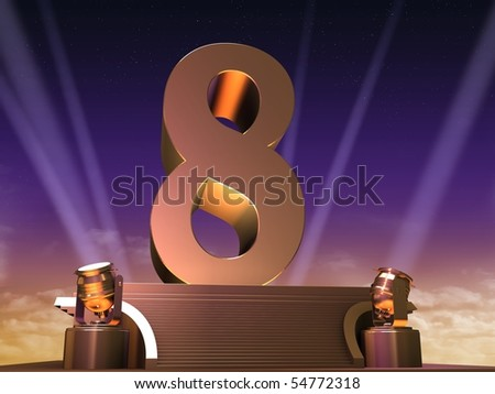 golden eight - stock photo