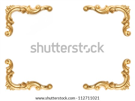 golden elements of carved frame on white background with clipping path - stock photo