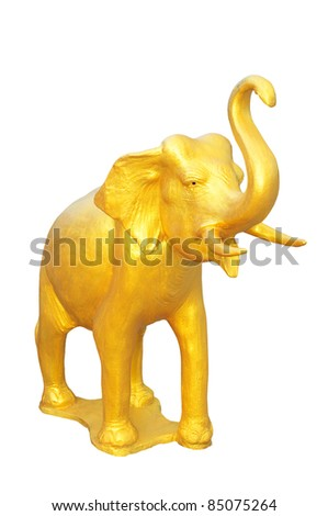 golden elephant isolate on white - stock photo