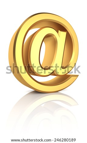 Golden email symbol isolated on white background. 3d render - stock photo