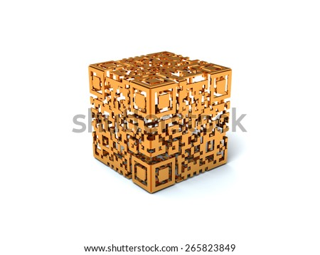 Golden empty inside QR cube, high resolution render - stock photo