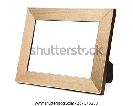 Golden empty picture frame isolated on white background with clipping path - stock photo