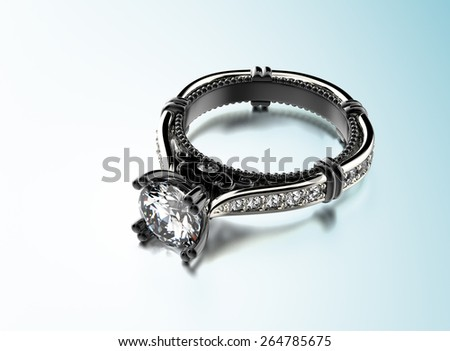 Golden Engagement Ring with Diamond. Jewelry background