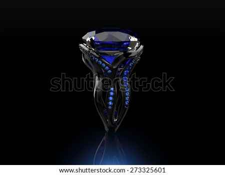 Golden Engagement Ring with sapphire. Jewelry background - stock photo