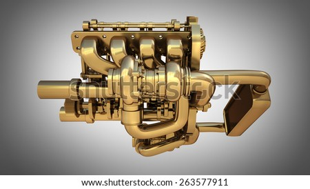 Golden engine on gray background. High resolution 3D