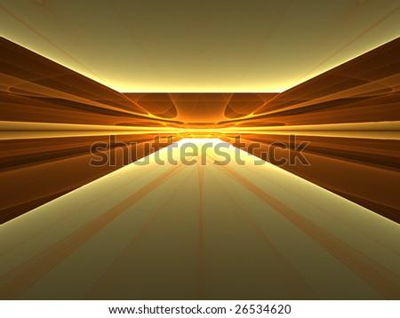 Golden Enlightenment - 3D fractal landscape - stock photo
