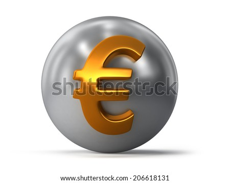 Golden euro currency sign on sphere. Finance illustration