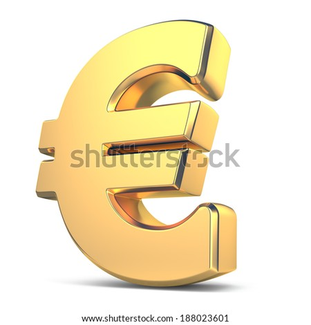 Golden euro currency sign on white isolated background. 3d - stock photo