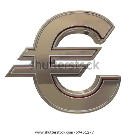 golden EURO isolated on a white background - stock photo
