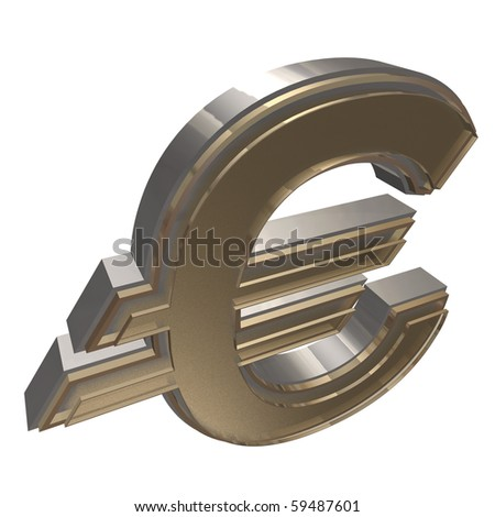 golden EURO isolated on a white background