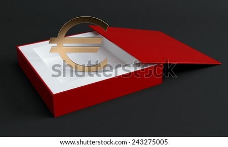 Golden euro sign in opened red box at dark background - stock photo