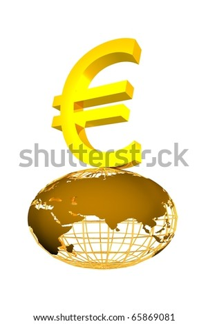 golden euro symbol - stock photo