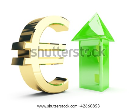 golden euro symbol and up arrows - stock photo