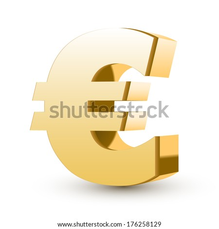 golden euro symbol isolated white background