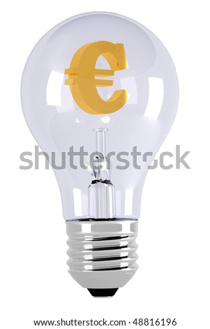 Golden euro symbol. Light bulb.