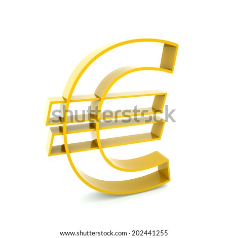 Golden Euro symbol on a white background, 3d render